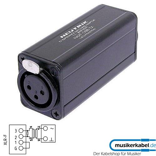 Neutrik NA2F-D0B-TX Neutrik Adapter D-Form XLR female - Cinch schwarz, Trafo 1 zu 1