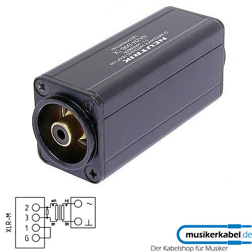 Neutrik NA2M-D0B-TX Neutrik Adapter D-Form XLR male - Cinch shwarz, Trafo 1 zu 1