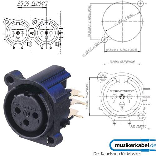 Neutrik XLR-Buchse A-Serie 3pol fem., print rechts, o. V ... on