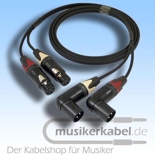 Musikerkabel.de R000098 Stereokabel 2x XLR female - 2x XLR male gewinkelt 2,5m