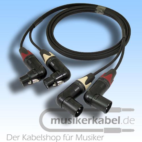 Musikerkabel.de R000108 Stereokabel 2x XLR fem. gewinkelt - 2x XLR male gewinkelt 2,5m
