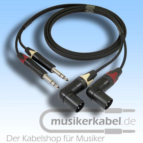 Musikerkabel.de R000122 Stereokabel 2x Klinke 6,3mm - 2x XLR male gewinkelt symm. 2,0m
