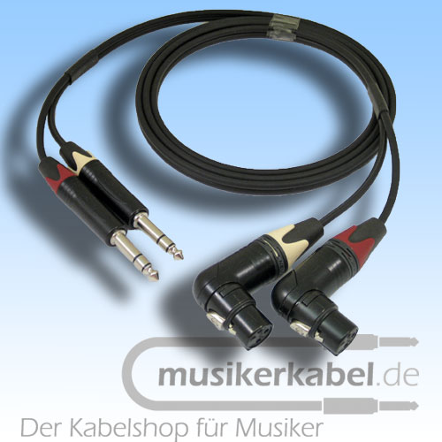 Musikerkabel.de R000125 Stereokabel 2x Klinke 6,3mm - 2x XLR fem. gewinkelt symm. 1,0m