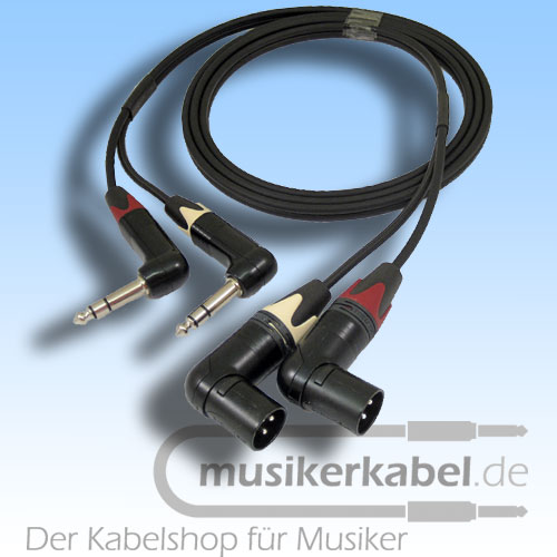 Musikerkabel.de R000142 Stereokabel 2x Klinke 6,3mm gew. - 2x XLR male gew. symm. 2,0m
