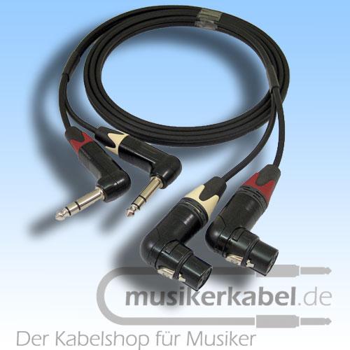 Musikerkabel.de R000146 Stereokabel 2x Klinke 6,3mm gew. - 2x XLR fem. gew. symm. 1,5m