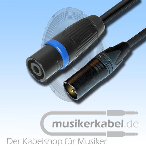 Musikerkabel.de R000236 XLR-Stecker 3pol. male, Speakonstecker male, 25cm, 2,5qmm