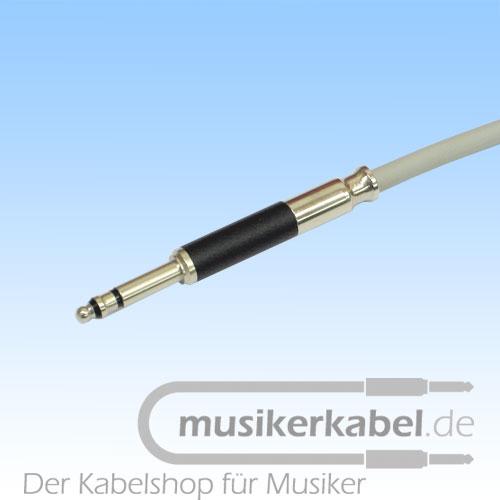 Musikerkabel.de R000390 TT-Phone, offenes Ende, 2m, Kabel weiß, Stecker grau