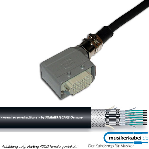 Musikerkabel.de R000440 8 Kanal Multicore, Harting 24DD female, gerade, offenes Ende, SC-Transfer 20m
