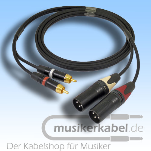 Musikerkabel.de R000955 Stereokabel 2x Cinch - 2x XLR male 2,0m