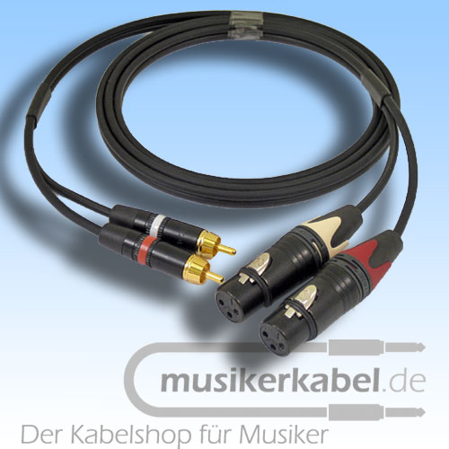 Musikerkabel.de R000960 Stereokabel 2x Cinch - 2x XLR female 2,0m