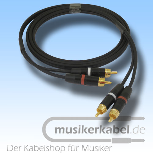 Musikerkabel.de R000963 Stereokabel 2x Cinch - 2x Cinch 1,0m