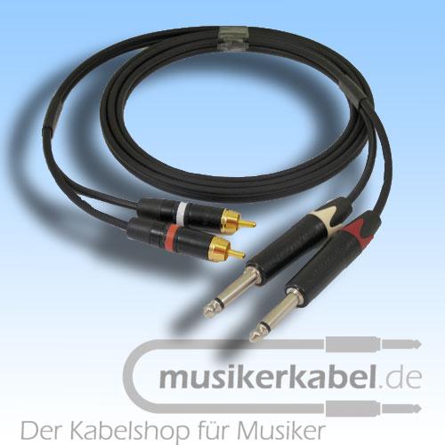 Musikerkabel.de R000970 Stereokabel 2x Cinch - 2x Klinke 6,3mm 2,0m