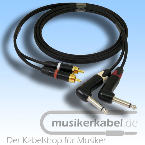 Musikerkabel.de R000974 Stereokabel 2x Cinch - 2x Klinke 6,3mm gewinkelt 1,5m