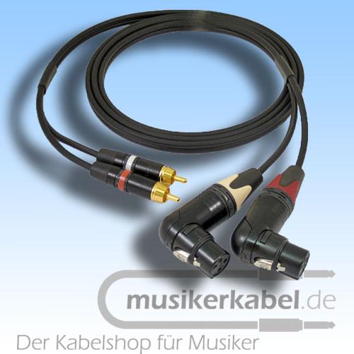Musikerkabel.de R000980 Stereokabel 2x Cinch - 2x XLR female gewinkelt 2,0m