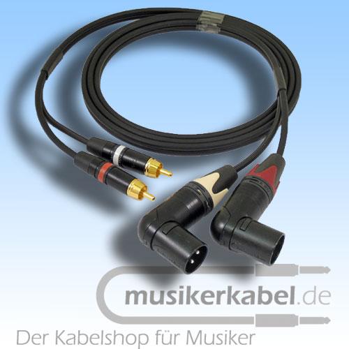 Musikerkabel.de R000985 Stereokabel 2x Cinch - 2x XLR male gewinkelt 2,0m