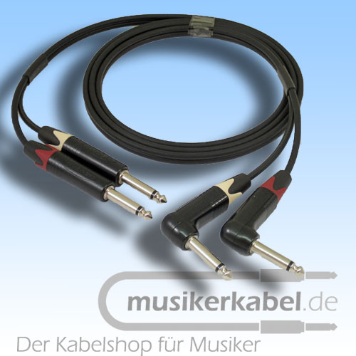 Musikerkabel.de R000987 Stereokabel 2x Klinke 6,3mm - 2x Klinke 6,3mm gewinkelt 0,5m