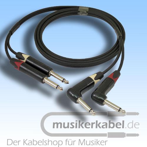 Musikerkabel.de R000991 Stereokabel 2x Klinke 6,3mm - 2x Klinke 6,3mm gewinkelt 2,5m
