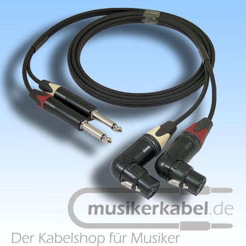 Musikerkabel.de R000996 Stereokabel 2x Klinke 6,3mm - 2x XLR fem. gew. unsymm. 2,5m