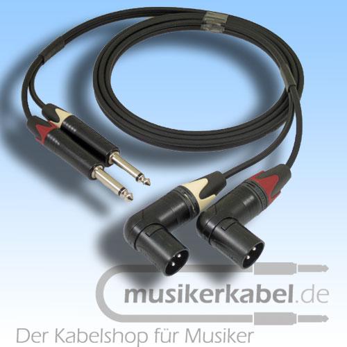 Musikerkabel.de R001003 Stereokabel 2x Klinke 6,3mm - 2x XLR male gew. unsymm. 1,0m