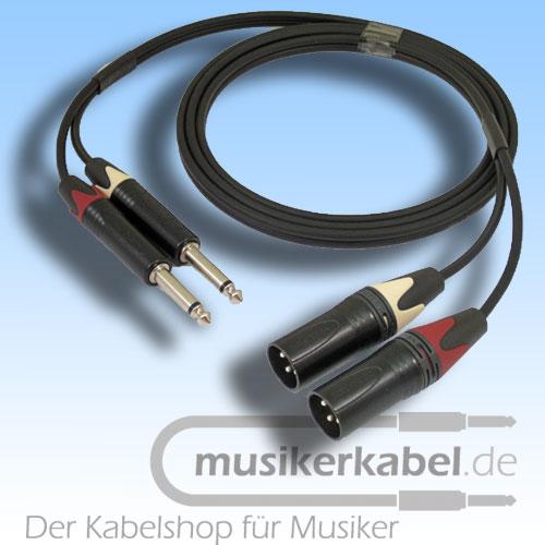 Musikerkabel.de R001008 Stereokabel 2x Klinke 6,3mm - 2x XLR male unsymmetrisch 1,0m
