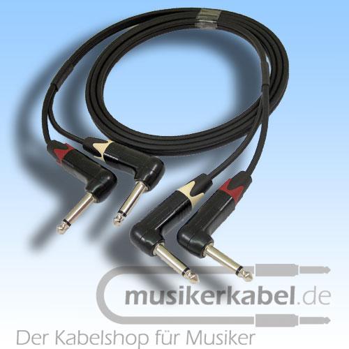 Musikerkabel.de R001012 Stereokabel 2x Klinke 6,3mm gew. - 2x Klinke 6,3mm gew. 0,5m