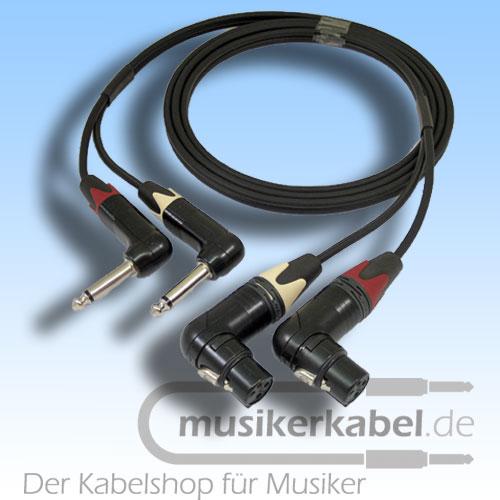 Musikerkabel.de R001020 Stereokabel 2x Klinke 6,3mm gew. - 2x XLR fem. gew. unsym. 2,0m
