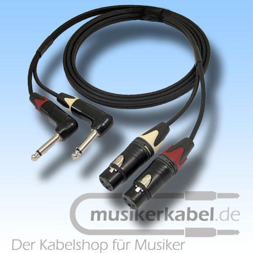 Musikerkabel.de R001023 Stereokabel 2x Klinke 6,3mm gew. - 2x XLR fem. unsymm. 1,0m