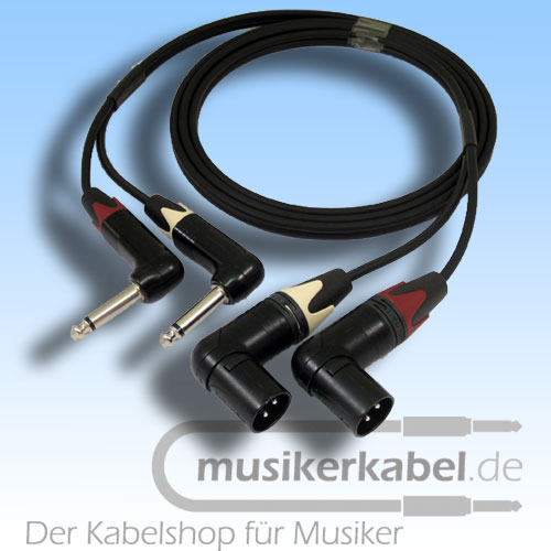 Musikerkabel.de R001030 Stereokabel 2x Klinke 6,3mm gew. - 2x XLR male gew. unsym. 2,0m