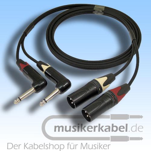 Musikerkabel.de R001036 Stereokabel 2x Klinke 6,3mm gew. - 2x XLR male unsymm. 2,5m