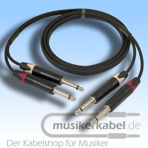 Musikerkabel.de R001038 Stereokabel 2x Klinke 6,3mm - 2x Klinke 6,3mm 1,0m